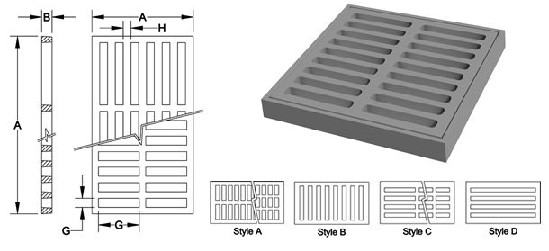 3000-3184 Square and Rectangular Drainage Grates