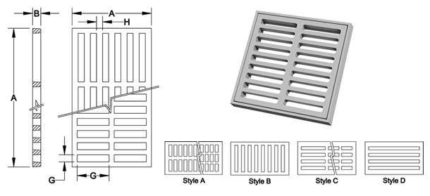 3203-3451 Square and Rectangular Drainage Grates