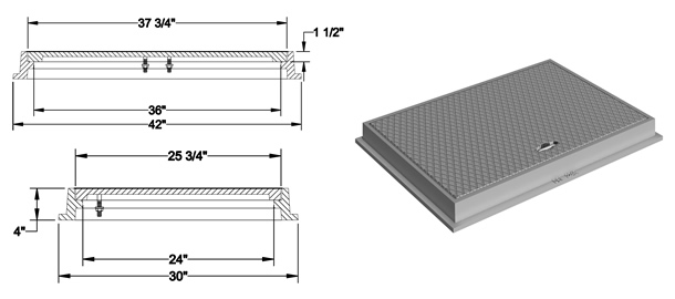 1462 Manhole Frame and Solid Cover